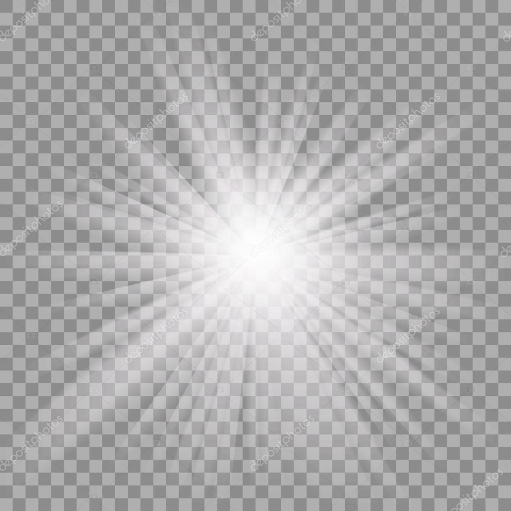 White glowing light burst on transparent background. — Stock Vector.