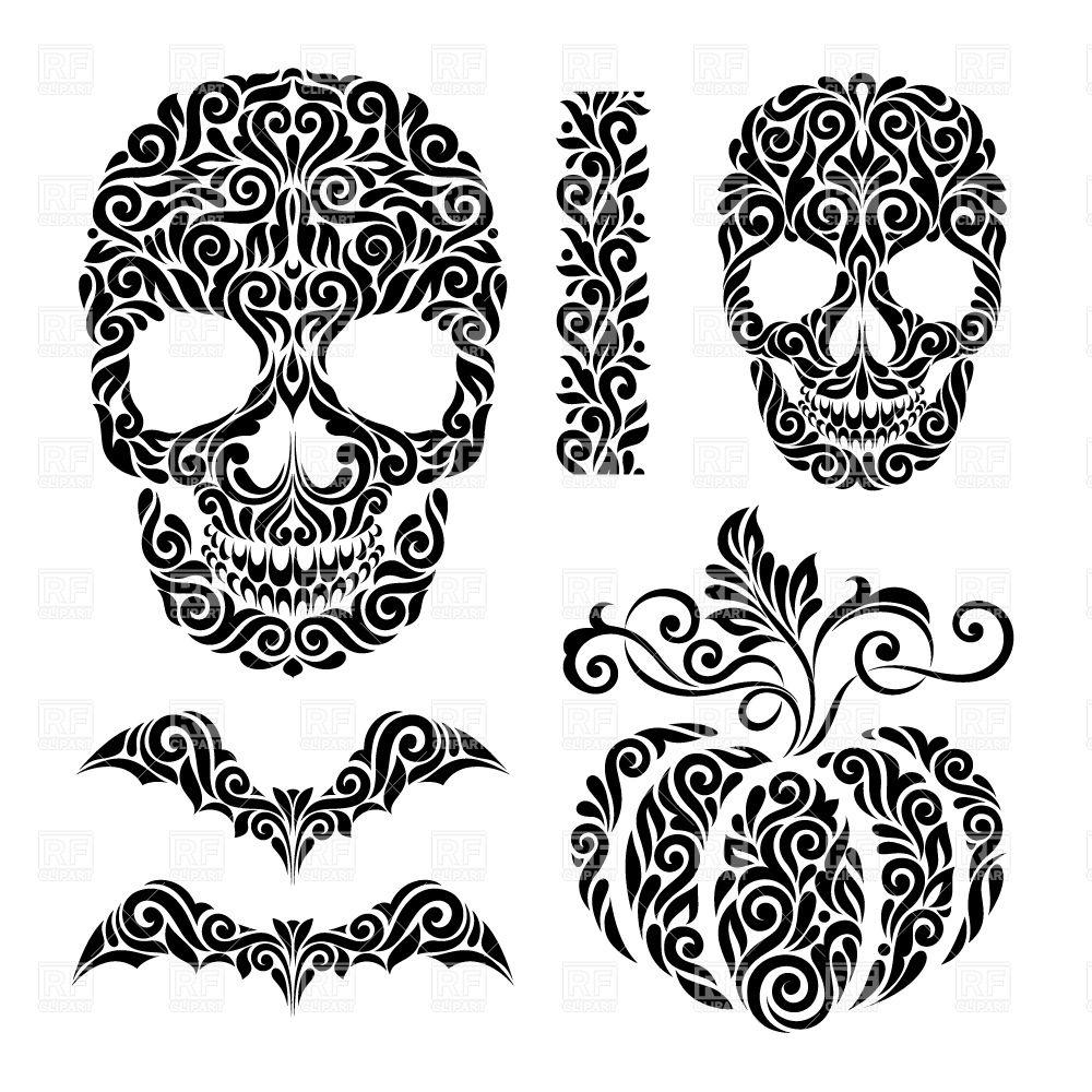 Whimsical burton black and white pumpkin clipart.