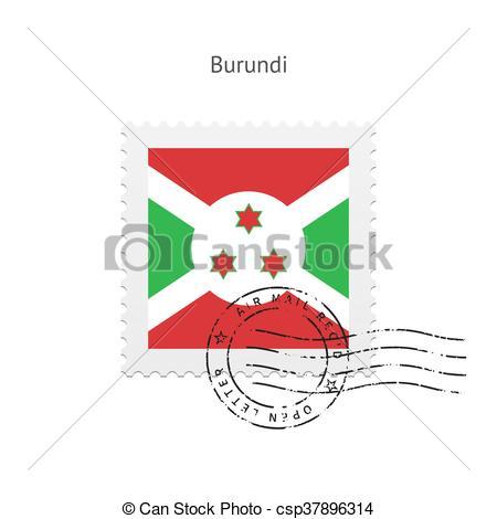 Vector Clip Art of Burundi Flag Postage Stamp..
