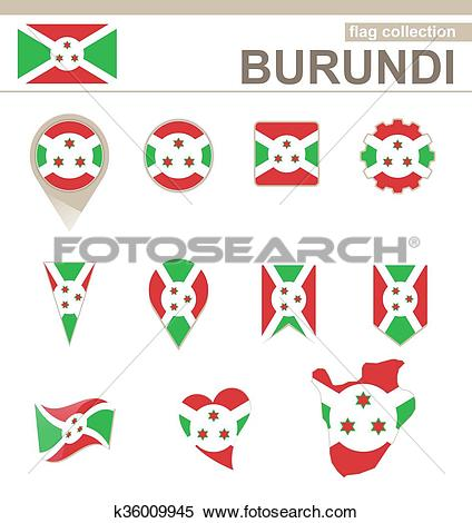 Clipart of Burundi Flag Collection k36009945.