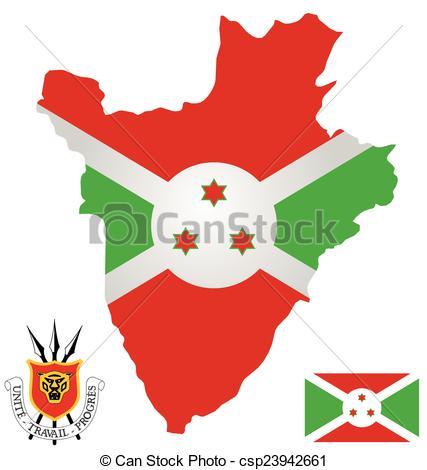 Clip Art Vector of Burundi Flag.