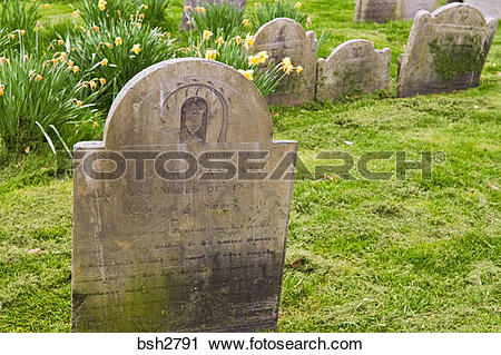Stock Photography of Tombstones at Copp's Hill Burying Ground on.