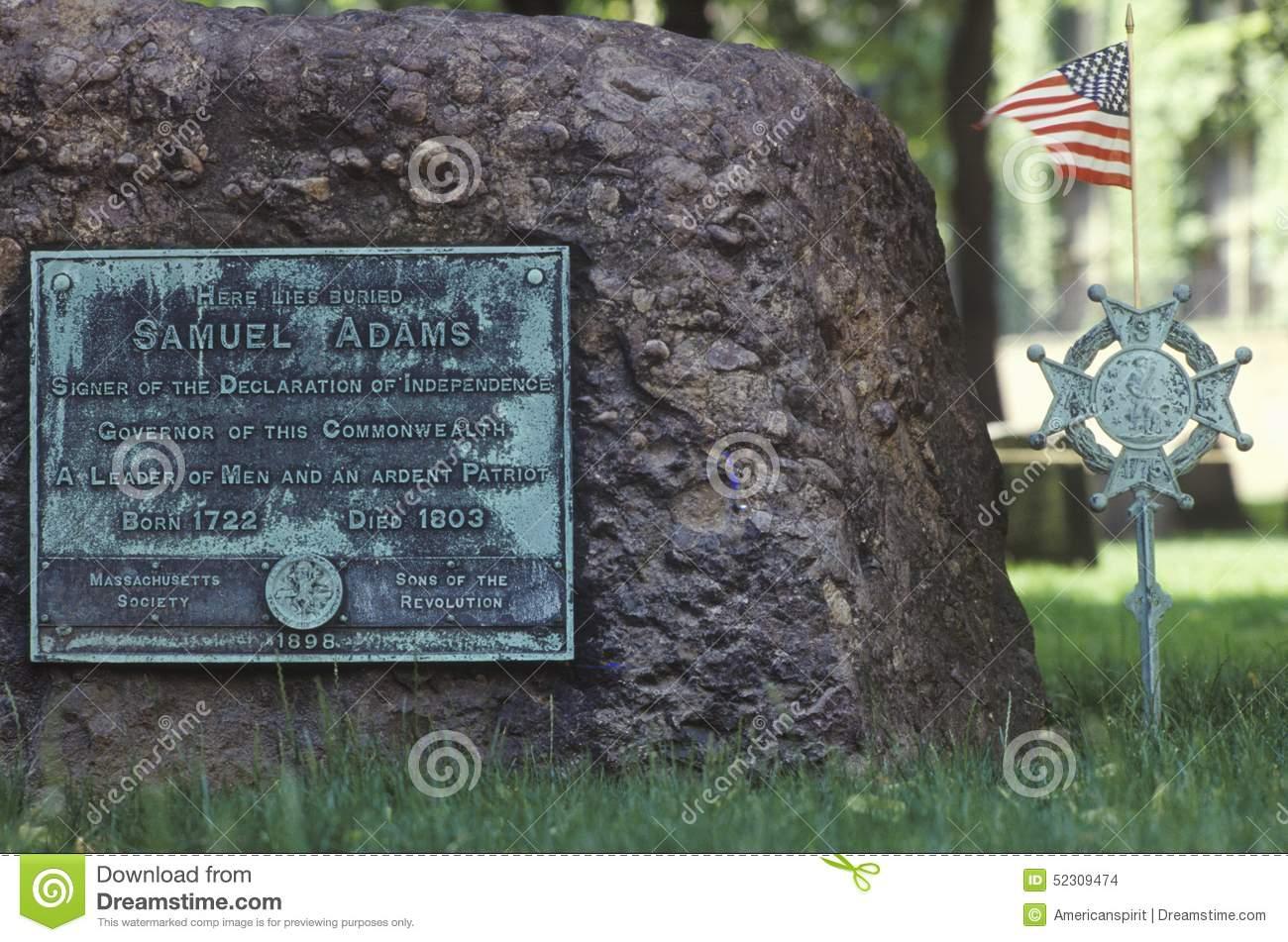 Gravestone Of Samuel Adams In The Old Granary Burying Ground In.