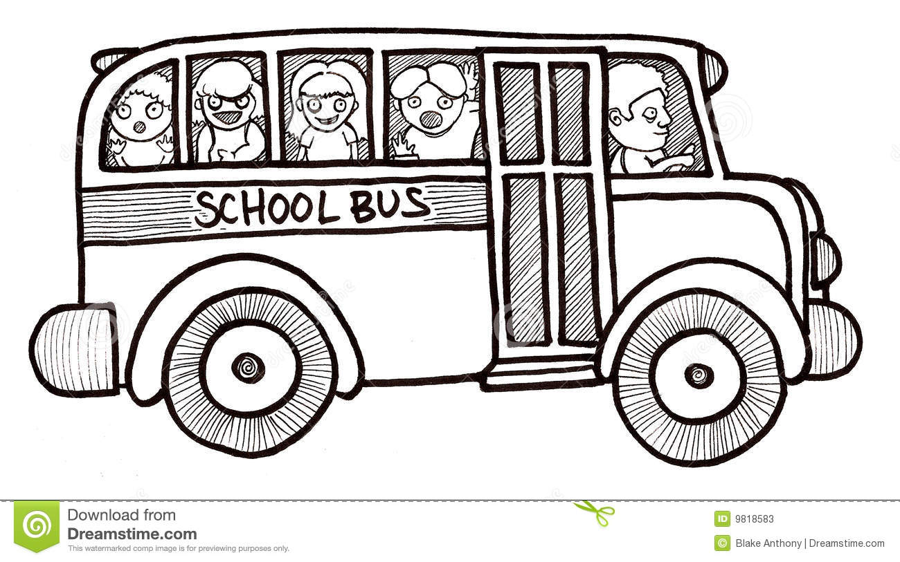 School Bus Children Black And White Stock Illustration.