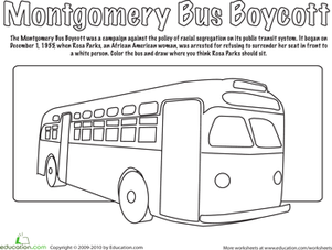 Montgomery Bus Boycott Coloring Page.