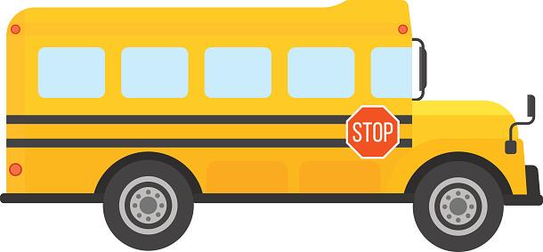 Snowy school bus clipart.