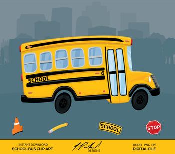 Cute School Bus Digital Clip Art.