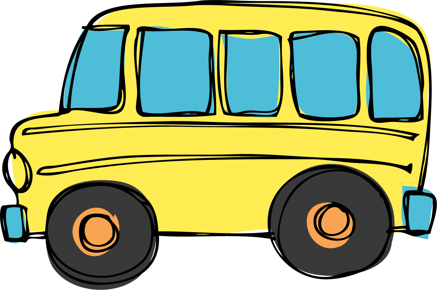 Yellow busses carry young minds.