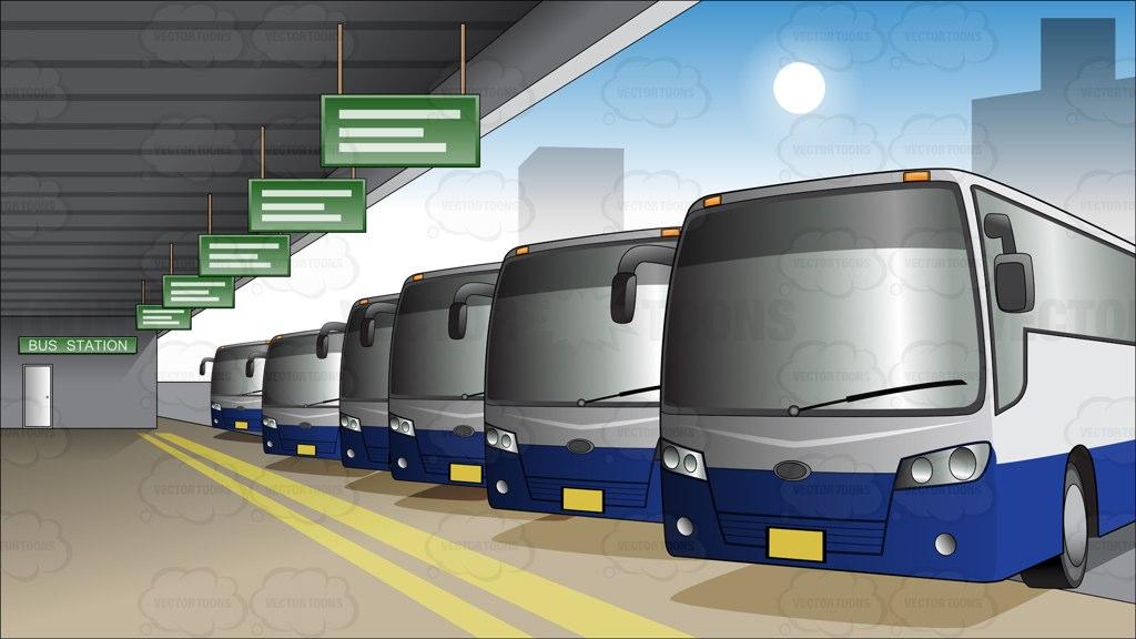bus depot Cartoon Clipart.