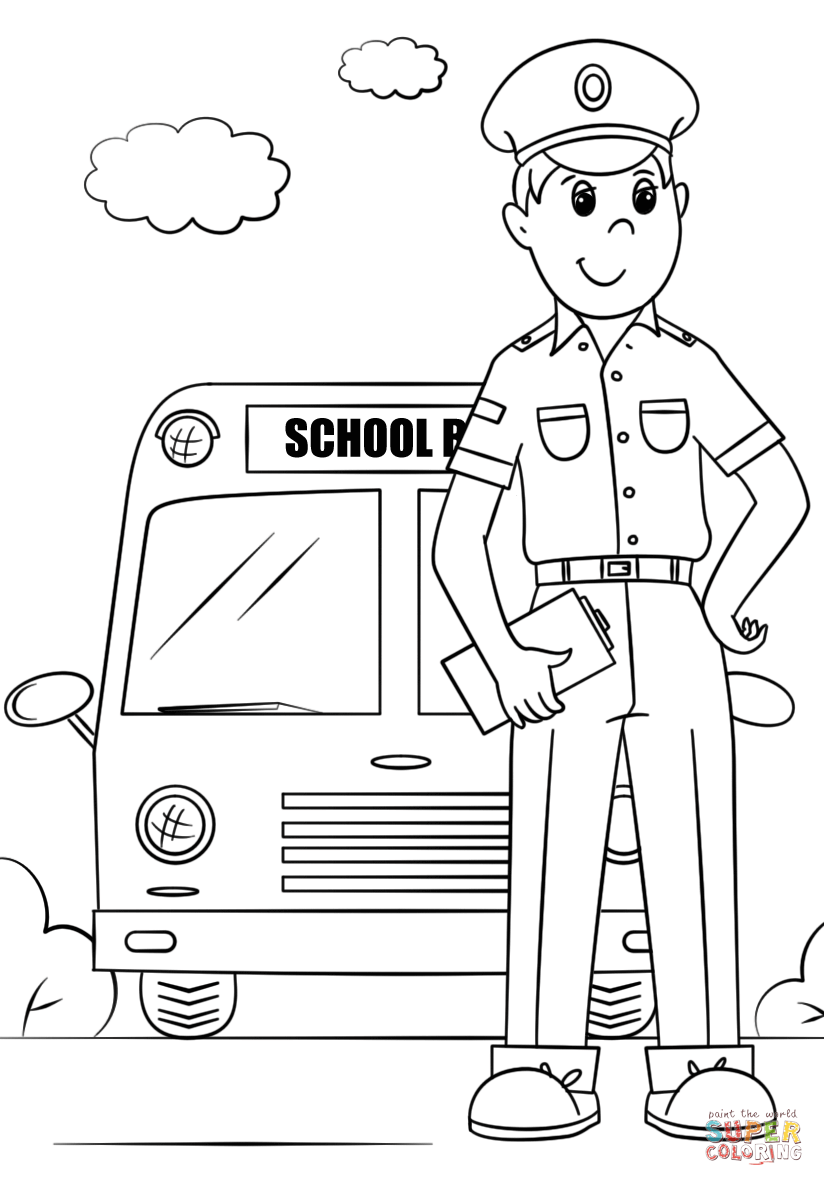 School Bus Driver coloring page.