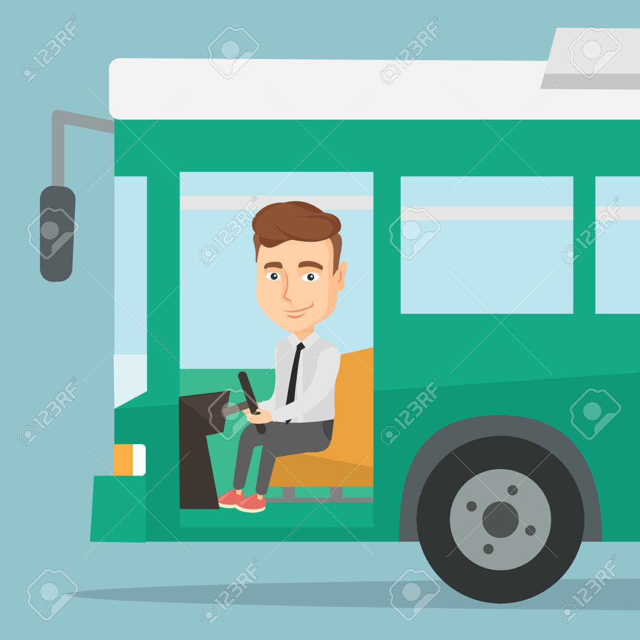 Caucasian bus driver sitting at steering wheel. Bus driver driving...