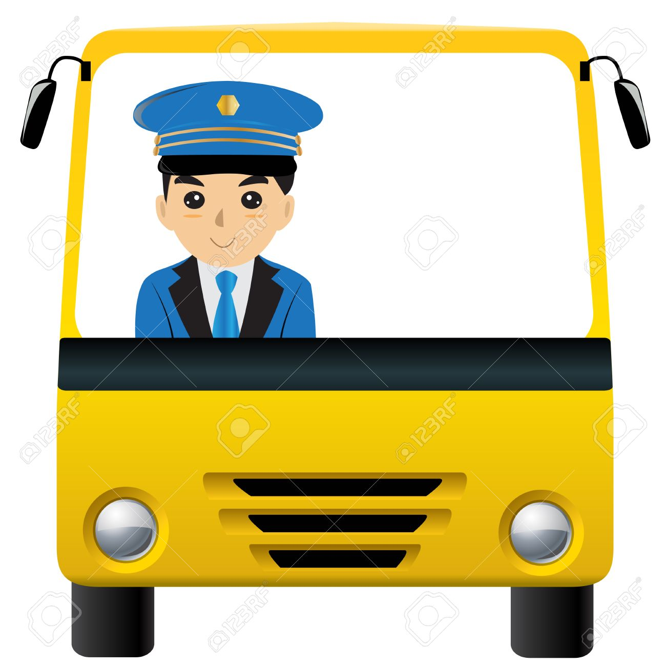Bus driver carman driver white space isolated.