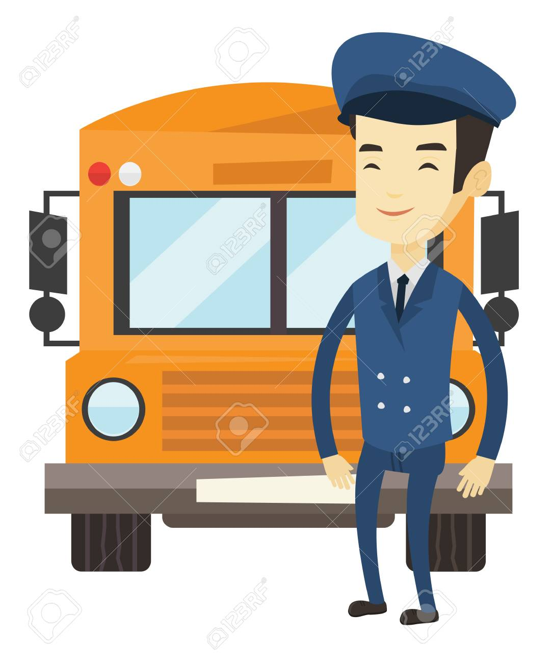 Young asian school bus driver standing in front of yellow bus.