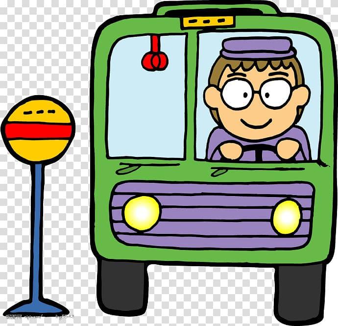 Bus driver Cartoon, Green cartoon bus transparent background.