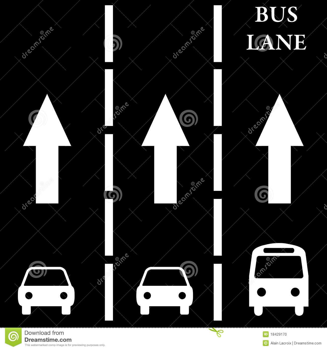 Bus Lane Stock Photo.
