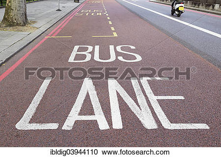 """Stock Photography of """"Bus lane, London, England, United Kingdom."""