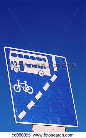Stock Image of bicycle, blue, bus, Bus lane, buss, Close.