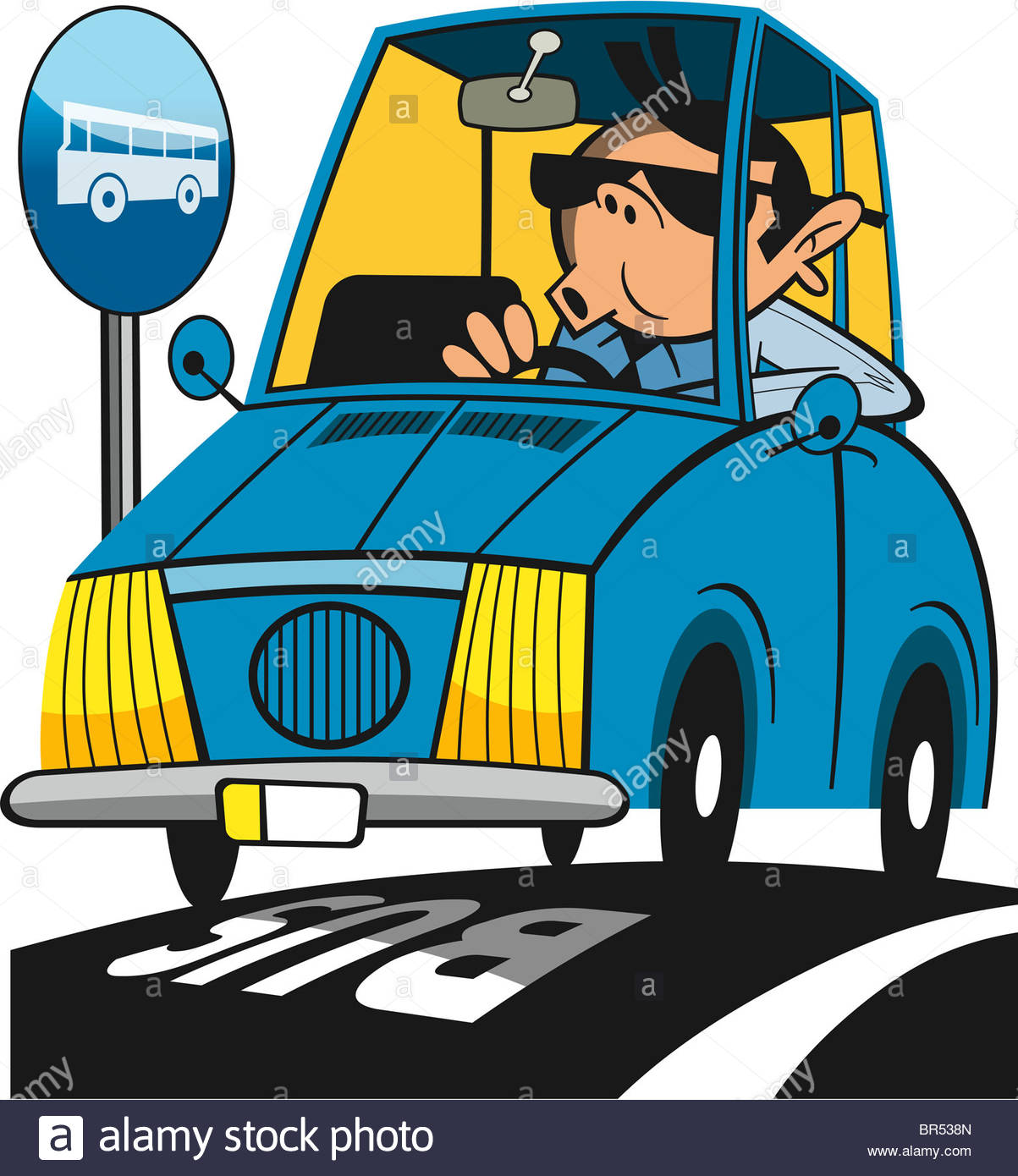A Man Driving His Car In The Bus Lane Stock Photo, Royalty Free.