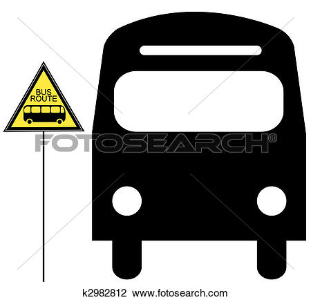 Clip Art of bus stopped and yellow bus stop sign k2982812.