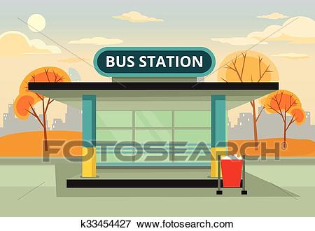 Bus stop station Clip Art.