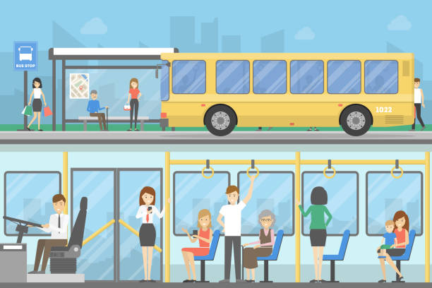 Best Bus Stand Illustrations, Royalty.