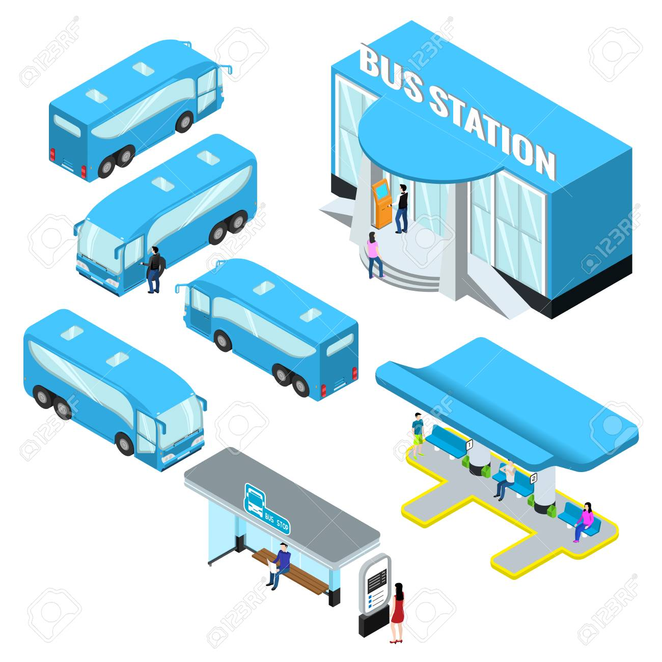 Bus station isometrics and buses, a platform for boarding a bus.