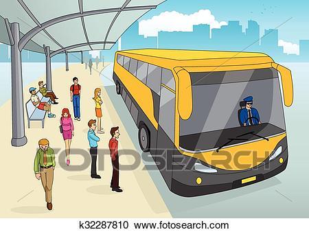 Bus Terminal In Cartoon Clipart.