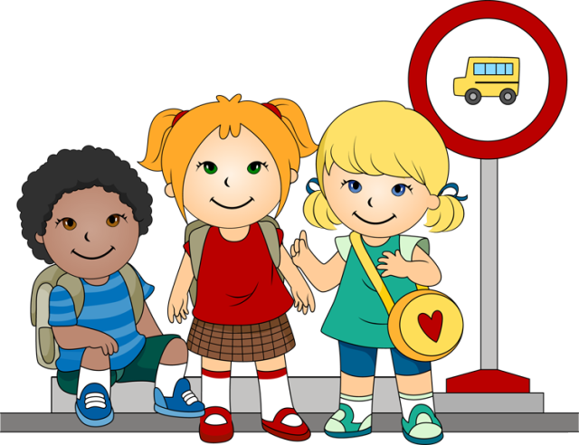 Bus stop kids crossing clipart.