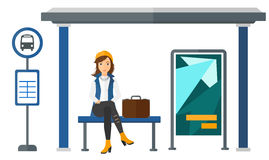 Woman Waiting Bus Stop Stock Illustrations.