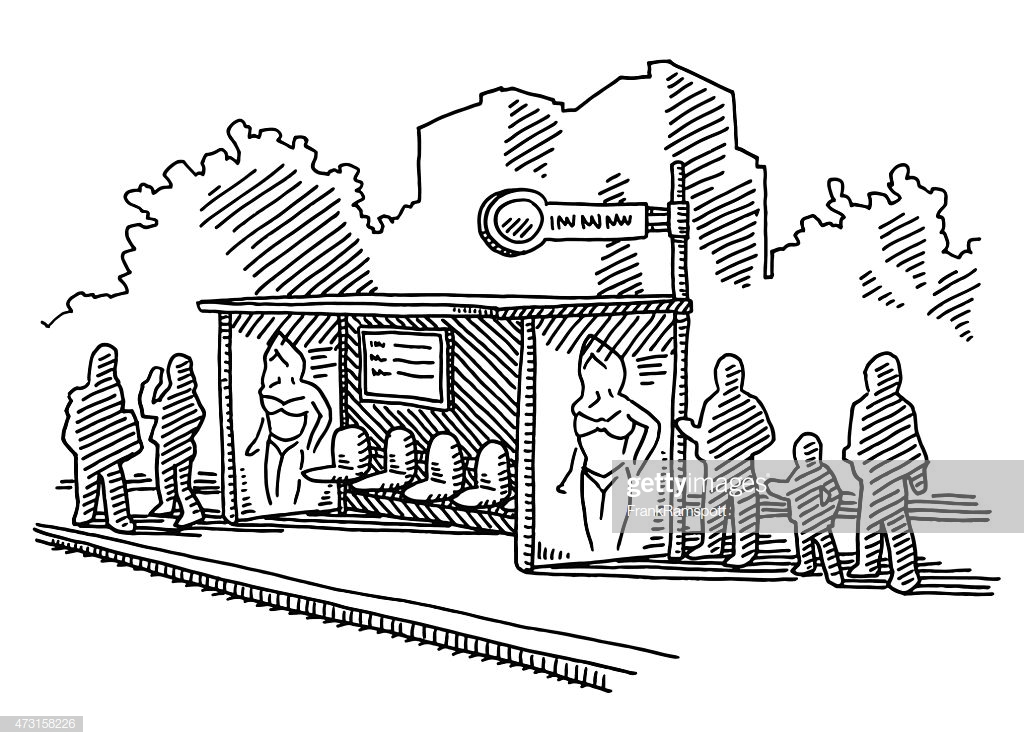 People Waiting On Bus Stop Drawing stock illustration.