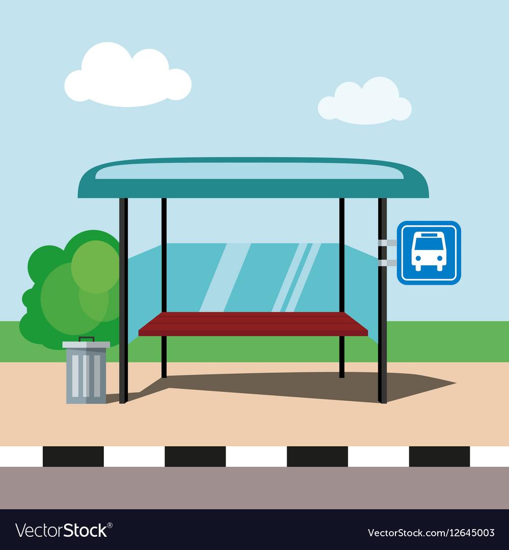 Flat bus stop on blue sky background.