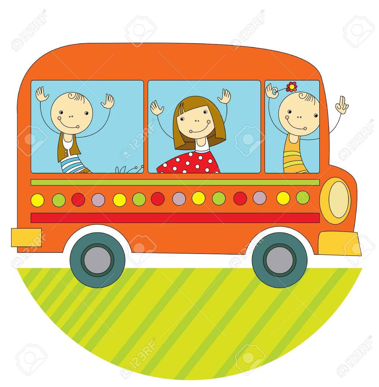 Children Travel By Bus Around The World Royalty Free Cliparts.