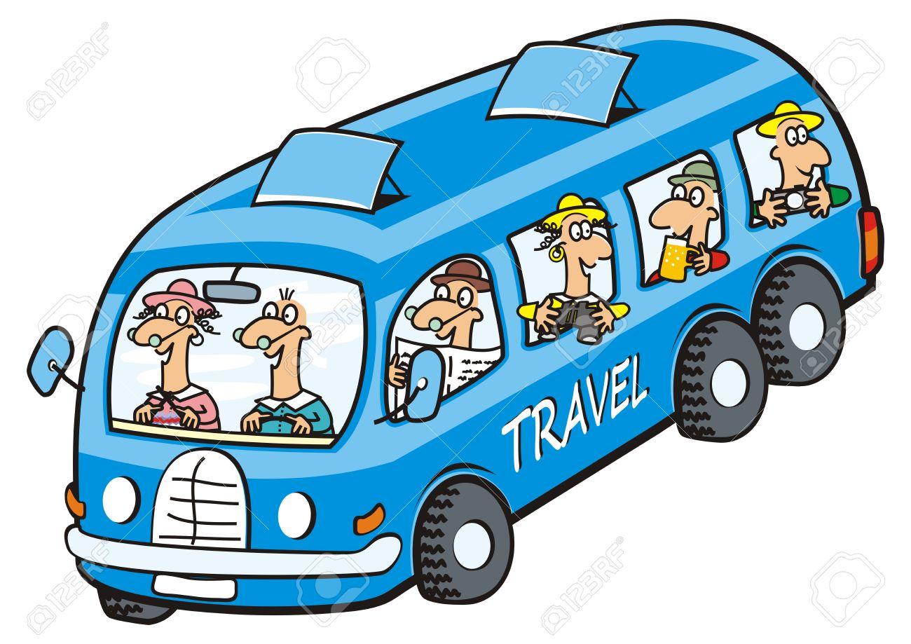 Bus and seniors icon. Funny illustration..