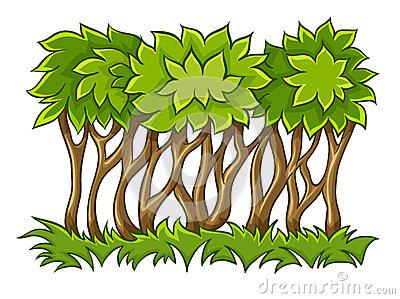 Cartoon Grass And Bush Stock Vector.
