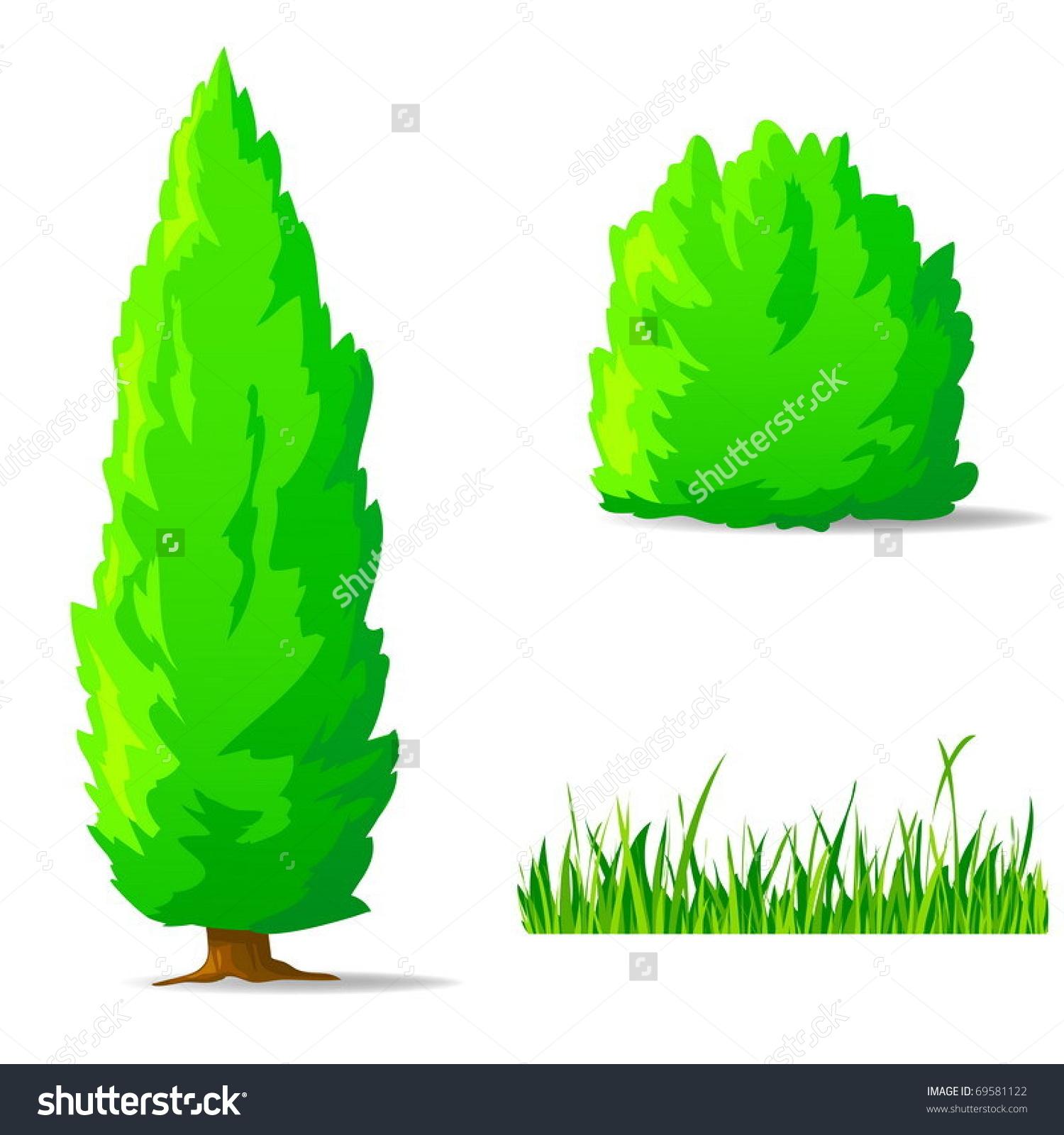 Vector Illustration Set Cartoon Green Plants Stock Vector 69581122.