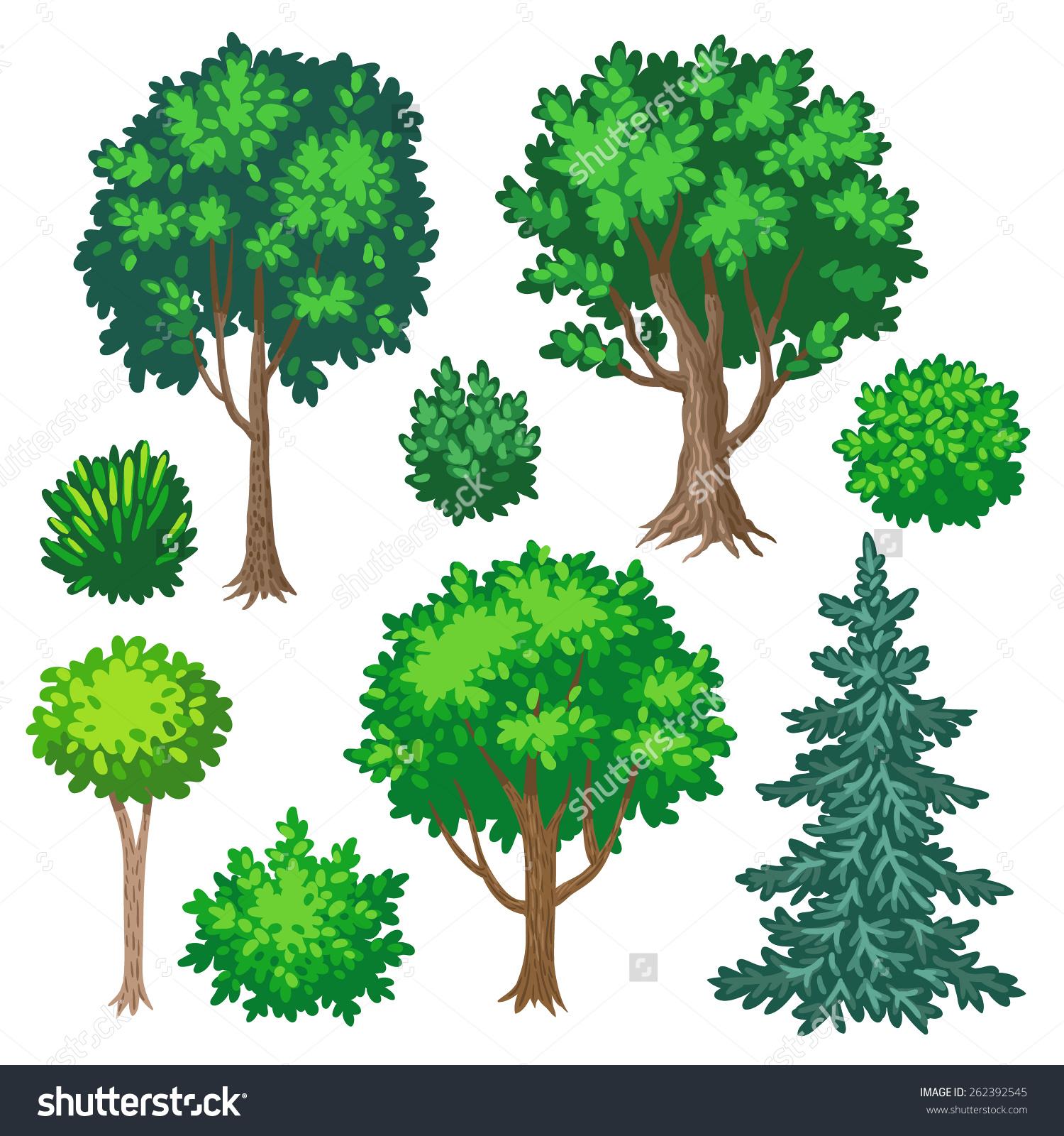 Set Cartoon Trees Shrubs Isolated On Stock Vector 262392545.