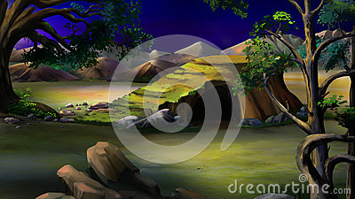 Stone Cave African Bush Night Stock Illustrations.
