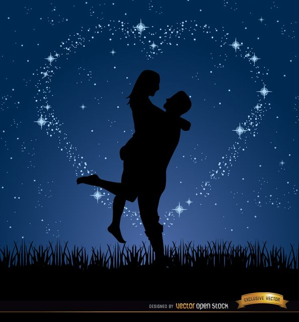 Silhouette of a couple hugging with love on the bush; there is a.