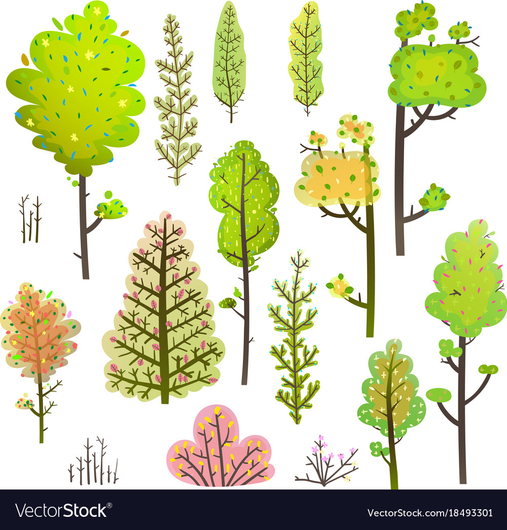 Trees bush green forest clipart collection.