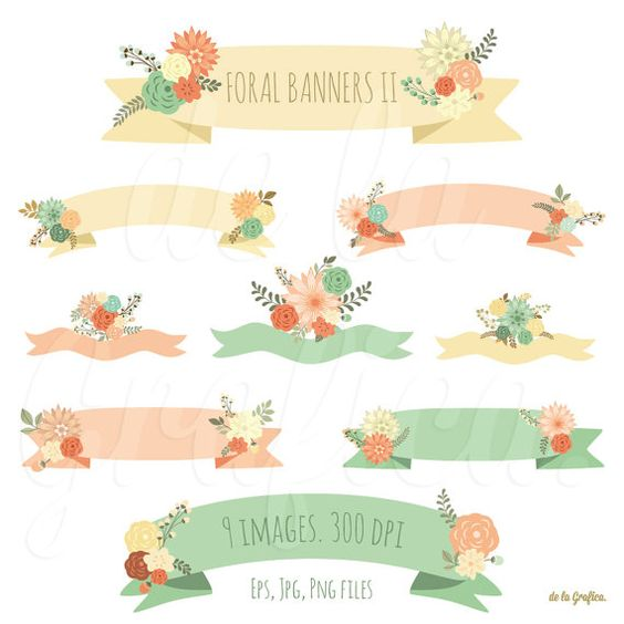 Floral banners II clip art, clipart. Banners with flowers. 9.