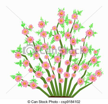 Clip Art of bush with large pink flowers.
