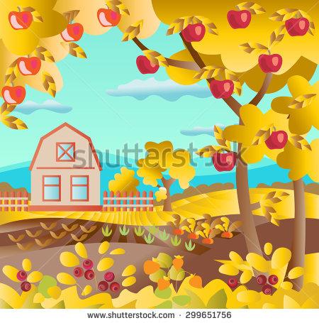 Farmhouse Rural Landscape Fruit Vegetable Garden Stock Vector.