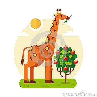 Giraffe With Fruits Bush Stock Vector.