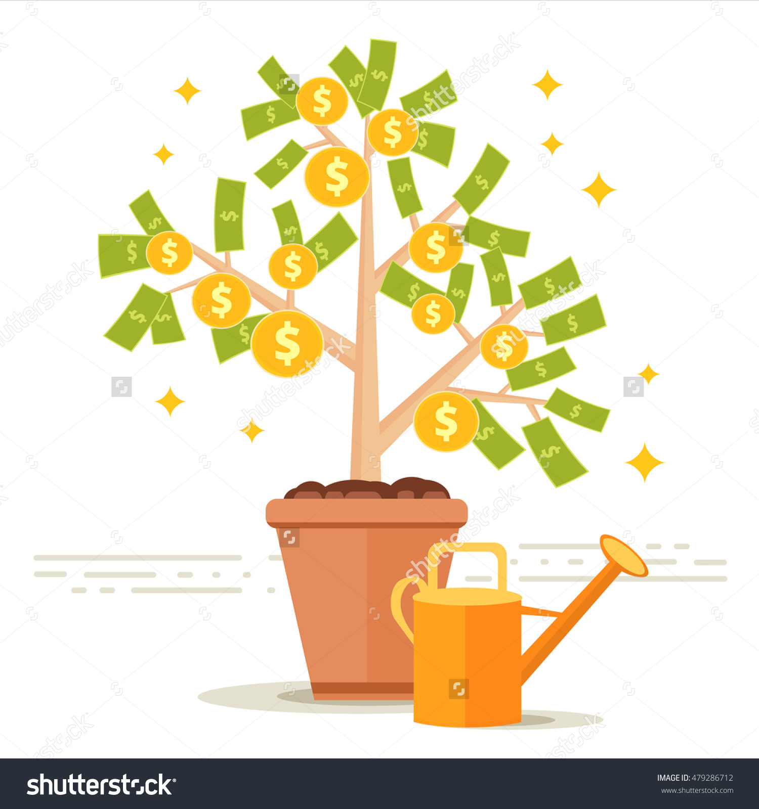 Money Tree Vector Illustration. Dollar Leaves And Golden Coin.
