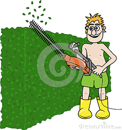 Clipping Hedges Clipart.