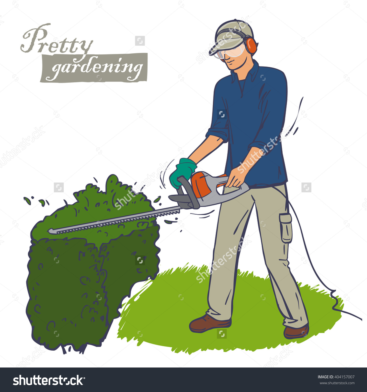 Man Trimming Bush Wearing Protection Overall Stock Vector.