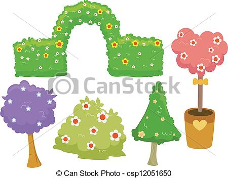 Clipart Vector of Garden Hedges and Trees.