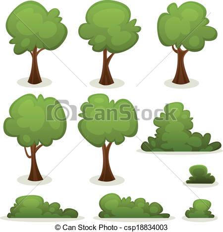 Vector Clipart of Trees, Hedges And Bush Set.