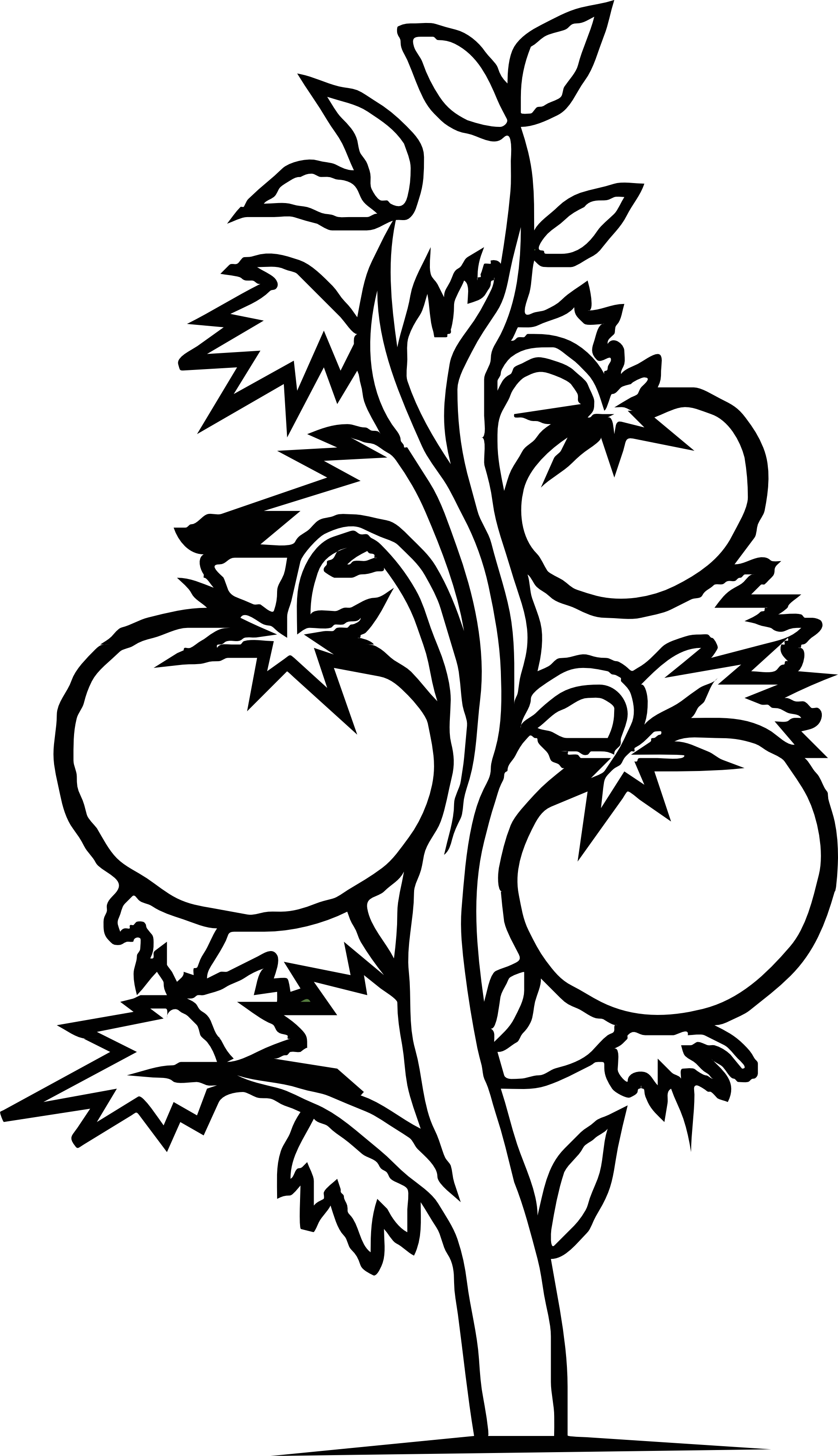 Bush tree clipart black and white.