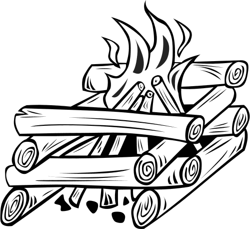 log cabin fire BW.